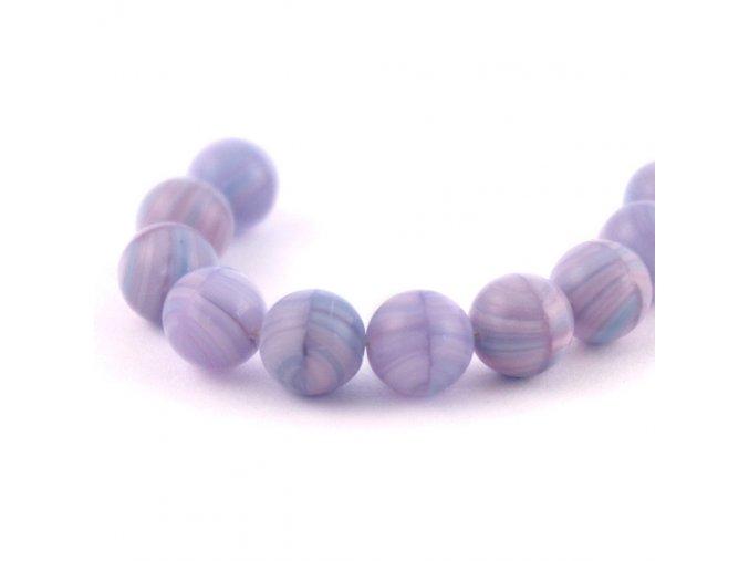 ČESKÝ SKLENĚNÝ KORÁLEK 10KUSŮ/fialovo-modrý žíhaný