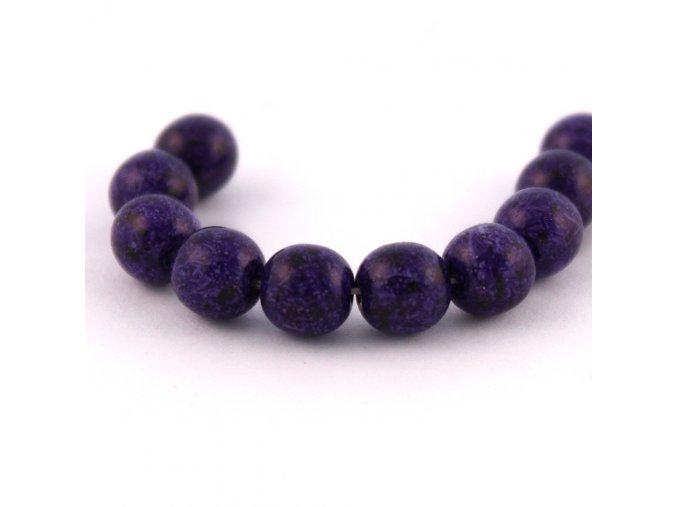 ČESKÝ SKLENĚNÝ KORÁLEK 10KUSŮ/Tmavě fialový kropenatý