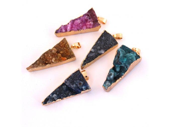 Přívěsek achát drúza - trojúhelník 2