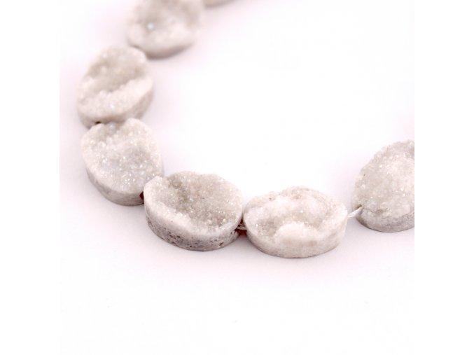Drúza křišťál - korálek 1ks - přírodní bílá