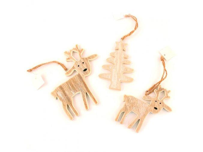 Dřevěná dekorace - sob / stromek