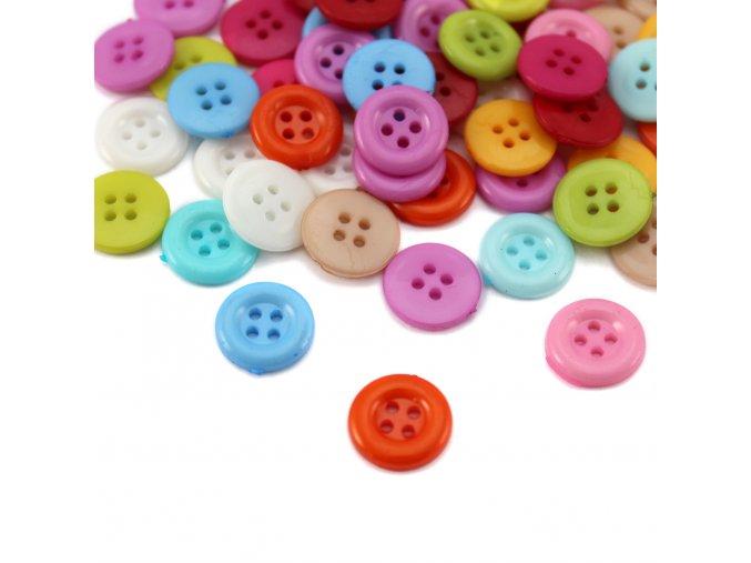 Knoflík plast. čtyřdírkový - 12,6 mm - různé barvy