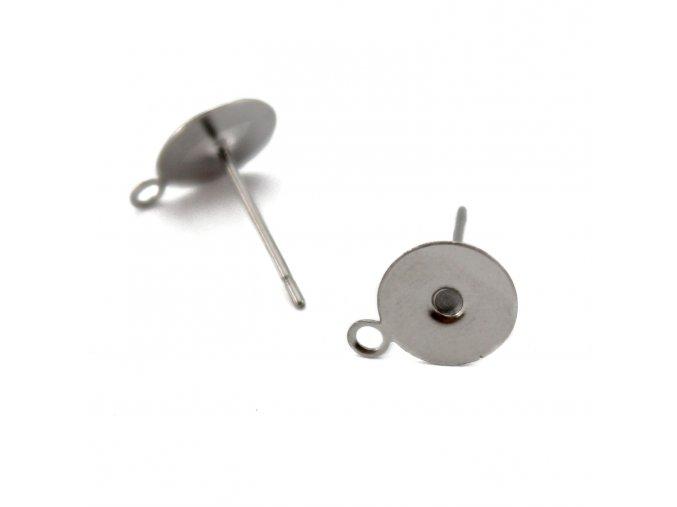 Vlepovací puzeta s očkem 12.5x10mm - nerez ocel - 2ks