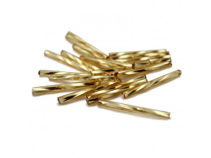 Český rokajl - tyčky 25x2mm - 20ks - zlaté kroucené