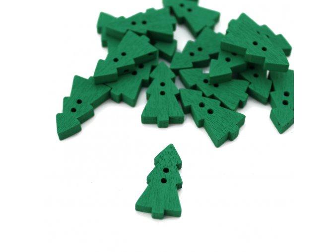 Dřevěný dekorační knoflík - 13x23x3,8mm - stromek zelený