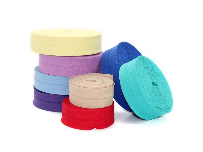 Šikmý proužek bavlněný zažehlený - šíře 20mm - různé barvy
