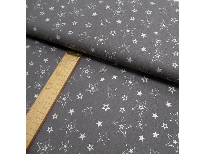 Bavlněné plátno - Šedá hvězdy stříbrotisk - šíře 150cm/1bm
