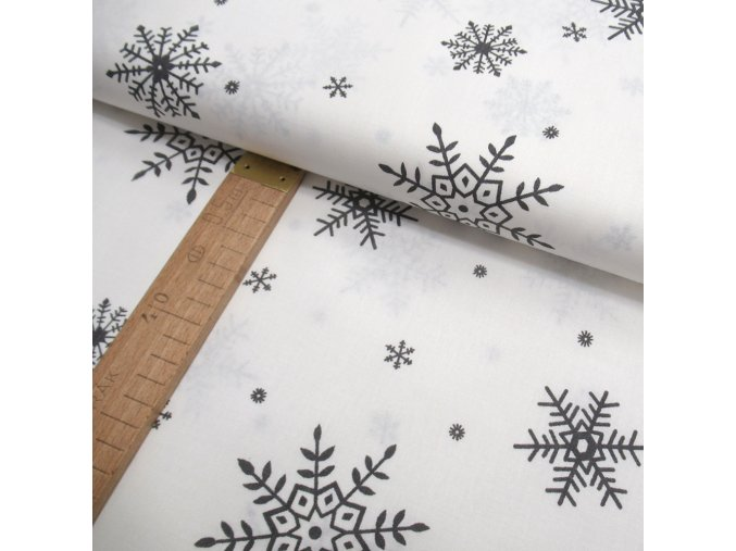 Bavlněné plátno - Šedé vločky na bílé - šíře 150cm/1bm