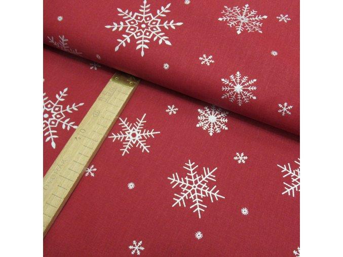 Bavlněné plátno - Tmavě červená vločky stříbrotisk - šíře 150cm/1bm