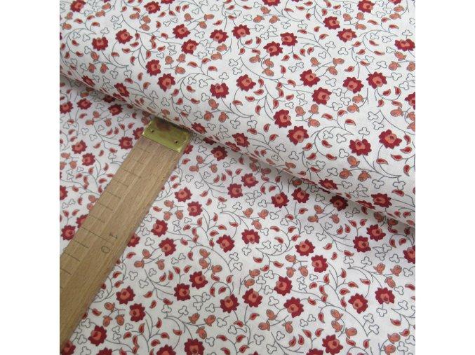 Bavlněné plátno - červené kytičky na bílé - šíře 150cm/1bm