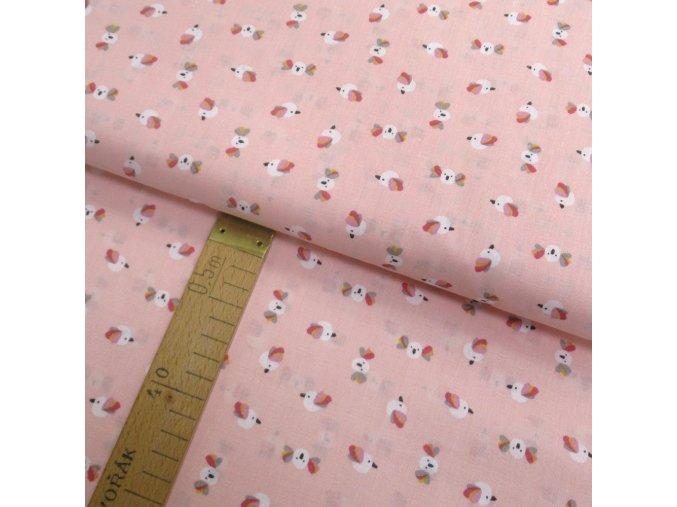 Bavlněné plátno - Ptáčci na růžovo-lososové - šíře 150cm/1bm
