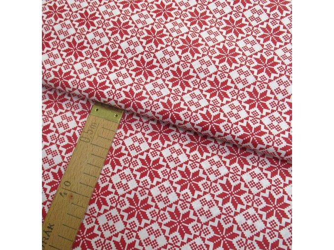 Bavlněné plátno - Výšivka červená, bílá - šíře 140cm/1bm