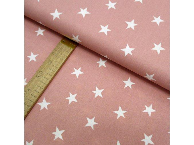 Bavlněné plátno - Hvězdy bílé na starorůžové - šíře 150cm/1bm