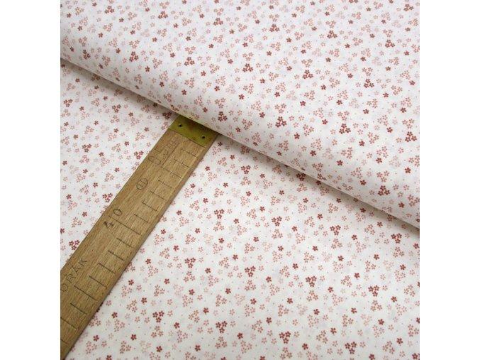 Bavlněné plátno - Květy starorůžové na bílé - šíře 150cm/1bm
