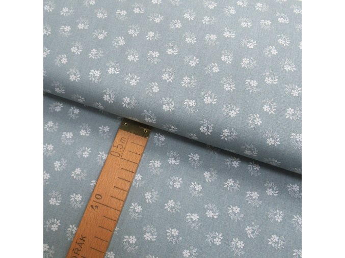 Bavlněné plátno - Květiny bílé na ocelově šedé - šíře 150cm/1bm
