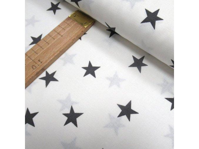 Bavlněné plátno - Hvězdy tmavě šedé na bílé - šíře 150cm/1bm