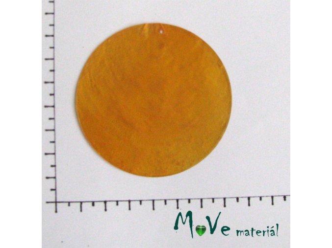 Přívěsek 65mm perleťová placka 1ks sv. oranžová