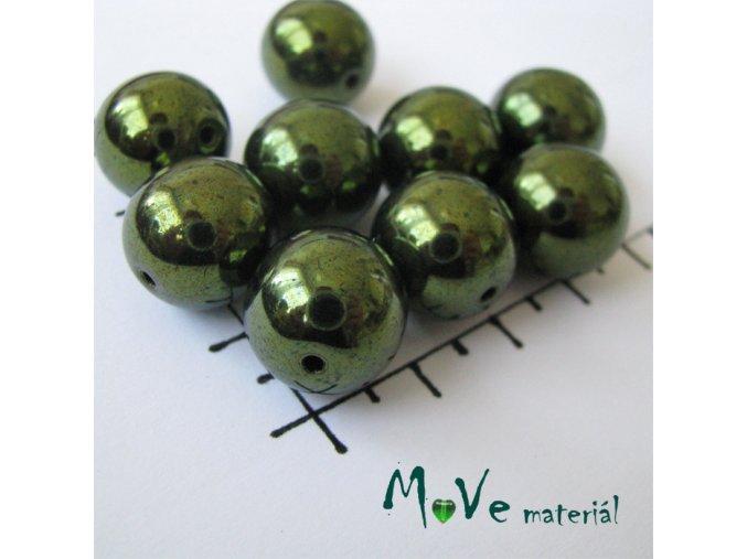 České voskové perle khaki zelené 13mm, 6ks