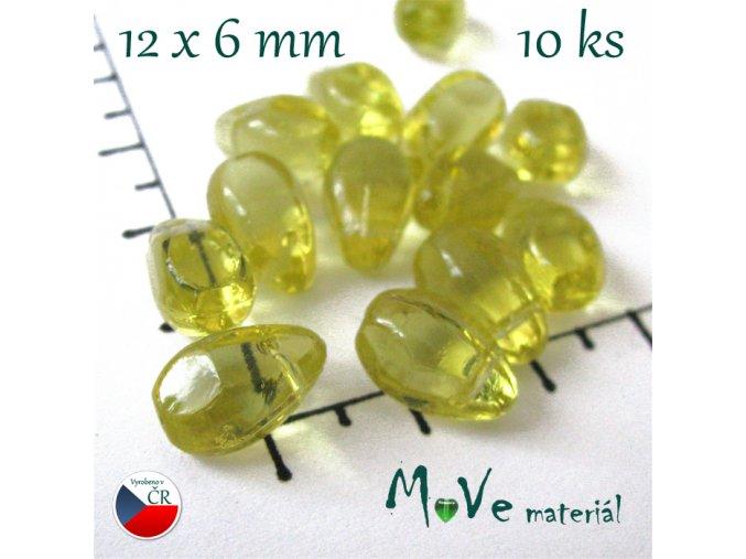 České skleněné žluté kapky 12 x 6mm 10 ks