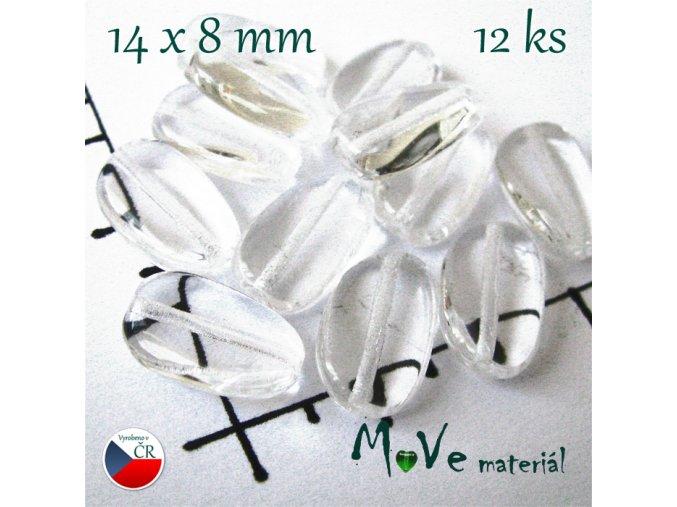 České korálky čiré oválky tvarované 14x8 mm 1 ks