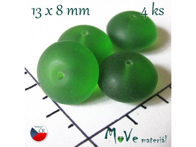 České korálky matný disk 13x8mm 4ks, zelená