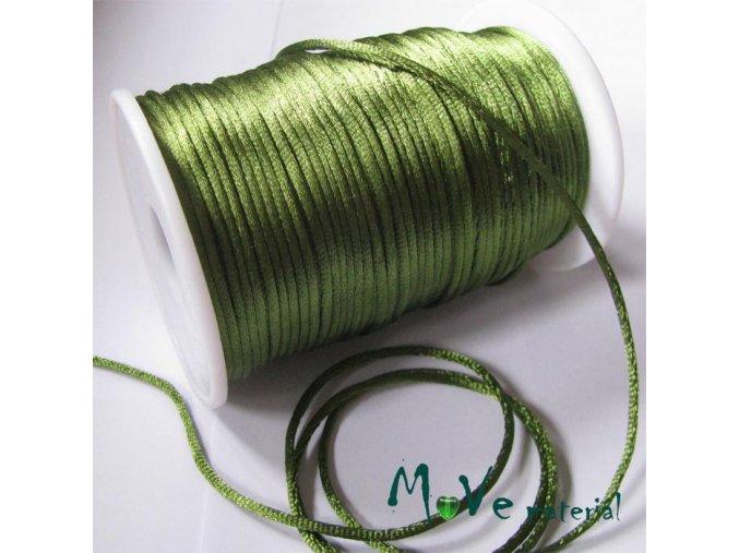 Šňůra 2mm saténová olivově zelená,1m