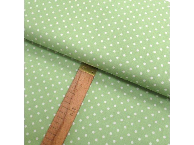 Bavlněné plátno -  Puntík bílý na světle zelenkavé - šíře 150cm/1bm