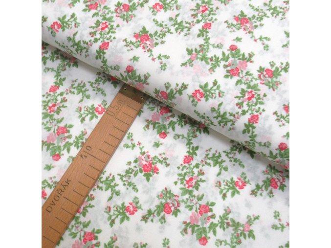 Bavlněné plátno - Růžičky růžovo zelené na bílé - šíře 150cm/1bm