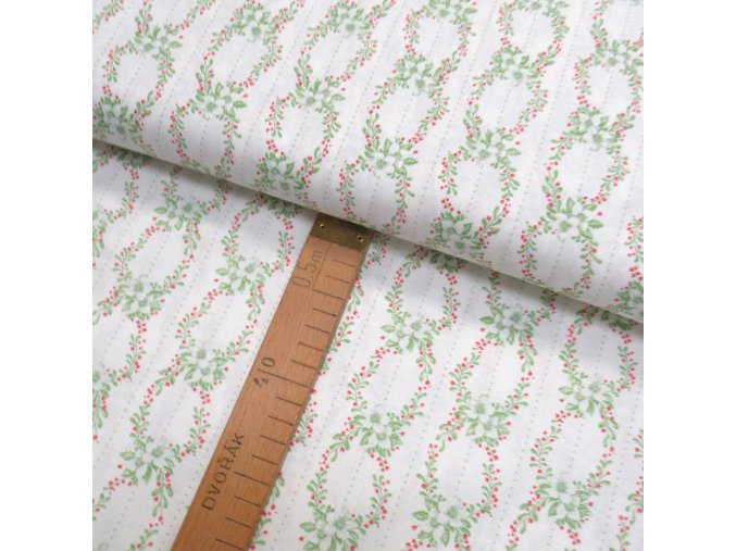 Bavlněné plátno -  Květiny věnečky zelené - pruhy na bílé - šíře 150cm/1bm