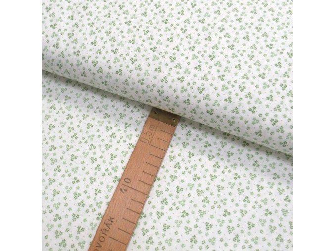 Bavlněné plátno - Květy zelené na bílé - šíře 150cm/1bm
