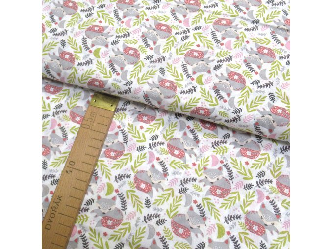 Bavlněné plátno - Lišky šedé na krémově bílé - šíře 150cm/1bm