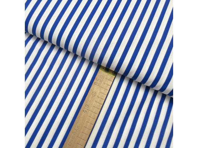 Bavlněné plátno - Pruh modrá, bílá - šíře 150cm/1bm