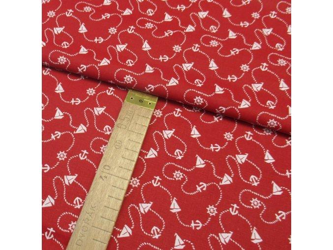 Bavlněné plátno - Lodě, kotvy bílé na červené - šíře 140cm/1bm