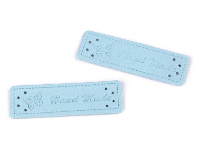 Cedulka - nášivka Hand made - 15 x 50mm / 1ks / světle modrá