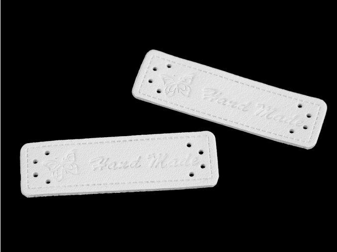 Cedulka - nášivka Hand made - 15 x 50mm / 1ks / bílá