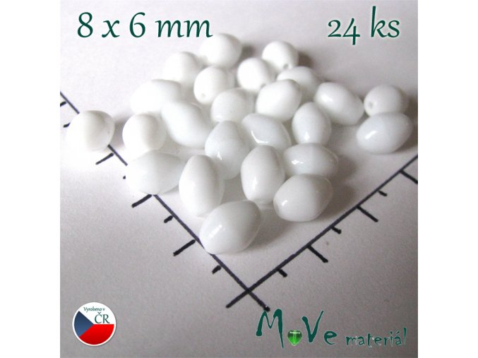 Český skleněný korálek olivka bílá 8x6mm, 24ks