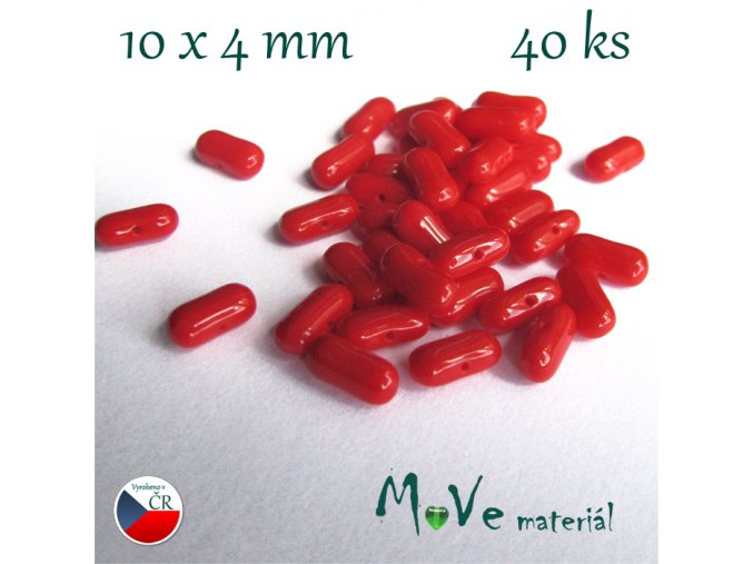 České červené korálky tyčka 10x4mm,40ks