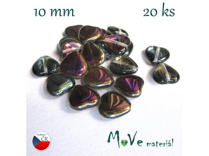 Česká skleněná pokovená srdíčka 10 x 10mm 20ks