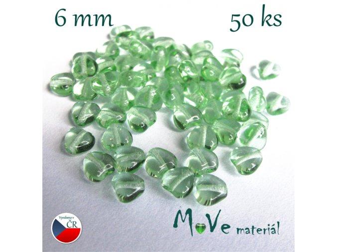 Česká zelená srdíčka 6mm 50ks