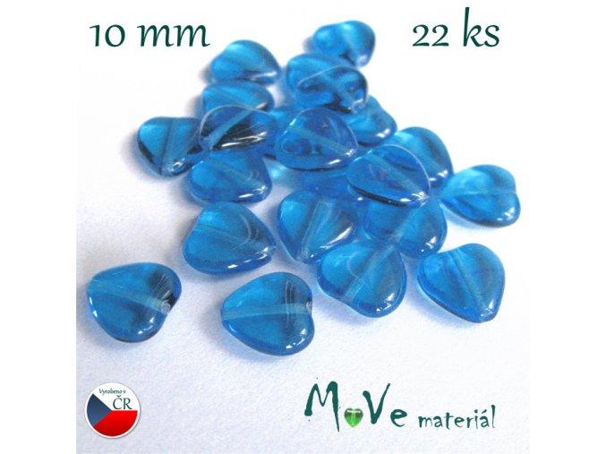 Česká skleněná modrá srdíčka 10 x 10mm 22ks