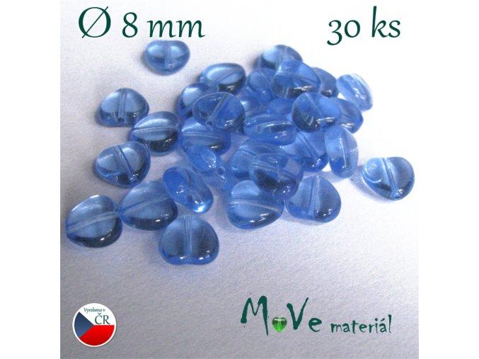 Česká skleněná modrá srdíčka 8mm 30ks