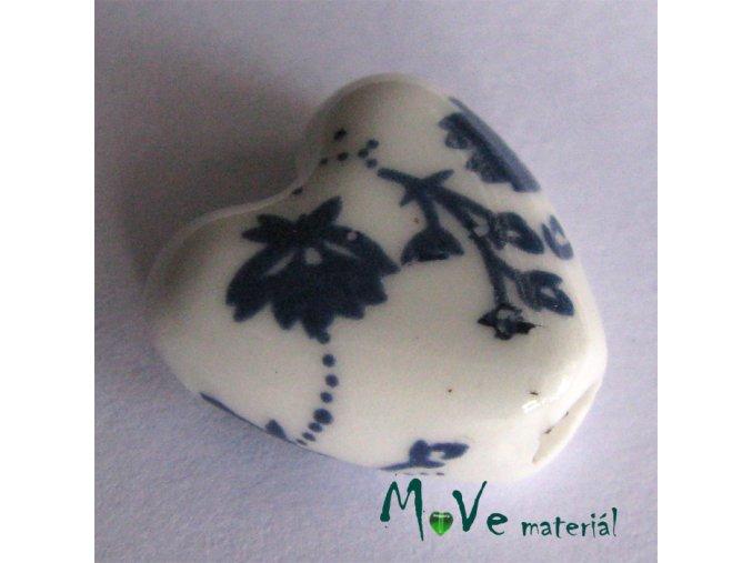 Korálek porcelánový srdíčko 14 x 14mm, 1ks