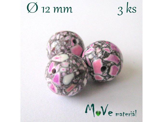 Korálky Marble růžová 12 mm/3 ks