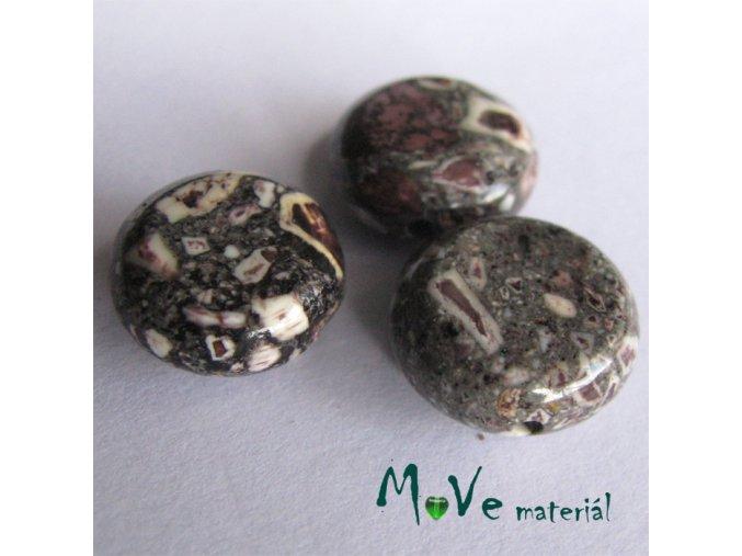 Korálky Marble placka hnědá 10 - 12 mm 3 ks