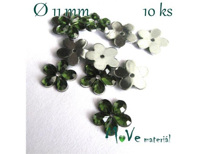Květina plast 11mm našívací 10 ks zelená