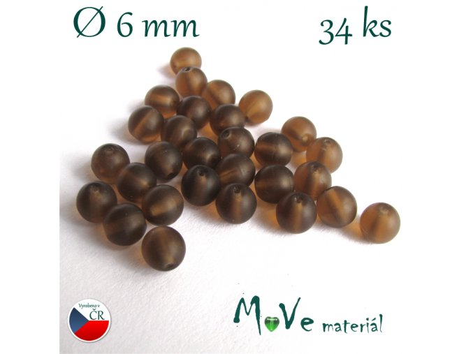 České korálky hnědé matné 6 mm 34 ks