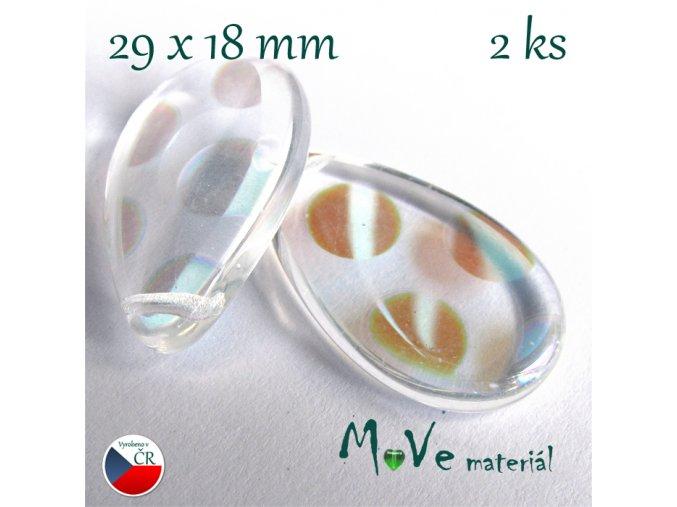 Česká skleněná pokovená slza 29x18mm 2 ks
