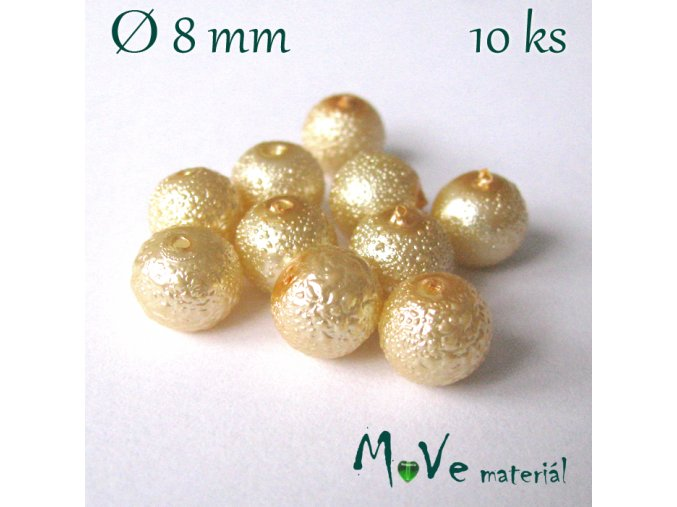 "Voskové perle ""Zigana"" 8mm, 10ks, vanilkové"
