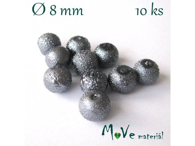 """Voskové perle """"Zigana"""" 8mm, 10ks, tm. šedá"""