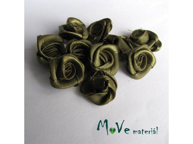 Růžička saténová khaki 15mm, 10kusů